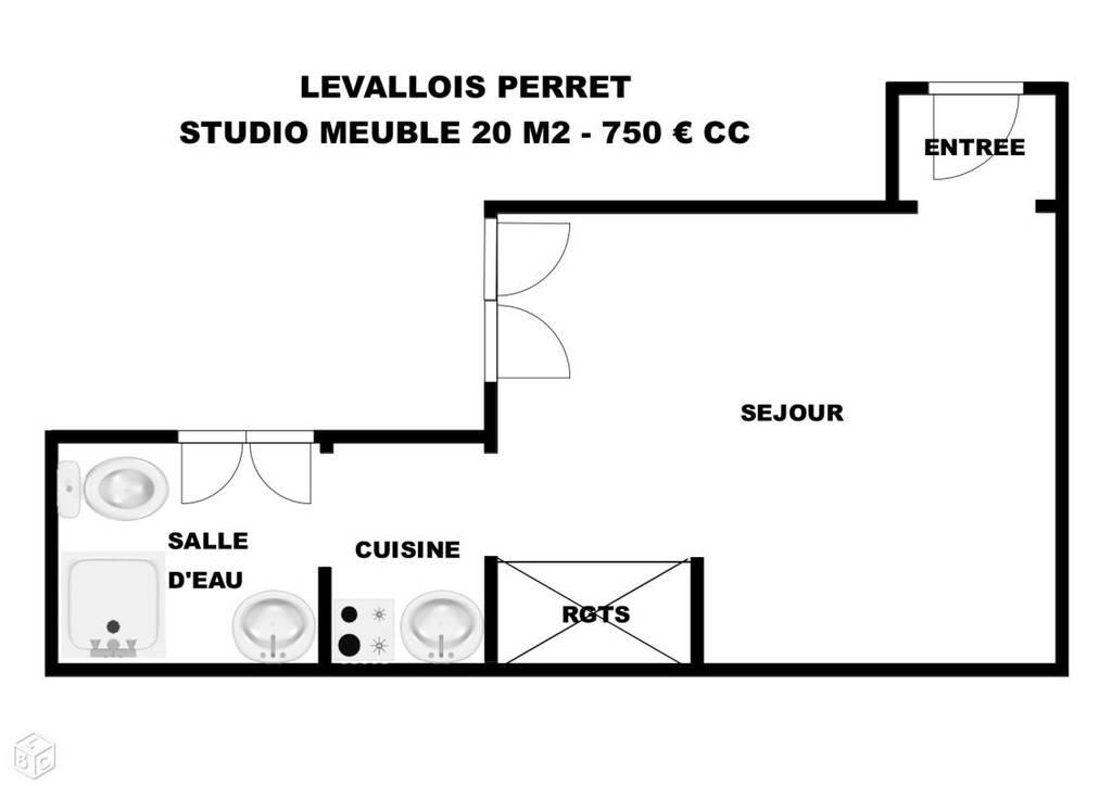 location meubl e studio 20 m levallois perret 92300 20 m 750 e de particulier. Black Bedroom Furniture Sets. Home Design Ideas