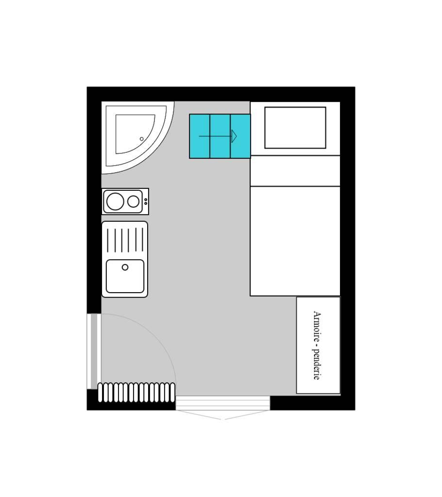 location meubl e studio 9 m paris 17e 9 m 550 de particulier particulier pap. Black Bedroom Furniture Sets. Home Design Ideas
